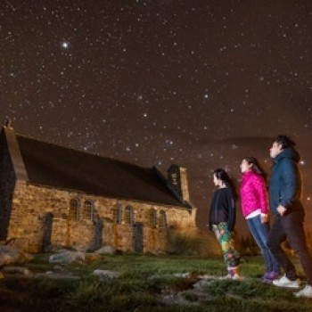 Tekapo church and night sky